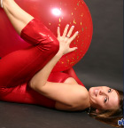 Babe In Tight Red Outfit Playing With Huge Balloon - Picture 10