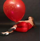 Babe In Tight Red Outfit Playing With Huge Balloon - Picture 12