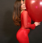 Babe In Tight Red Outfit Playing With Huge Balloon - Picture 2