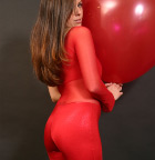 Babe In Tight Red Outfit Playing With Huge Balloon - Picture 3