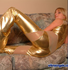 Sarah In Tight Shiny Gold - Picture 11