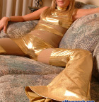 Sarah In Tight Shiny Gold - Picture 1