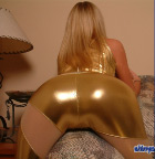 Sarah In Tight Shiny Gold - Picture 7