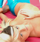 Blonde Babe In Shiny Blue - Picture 12